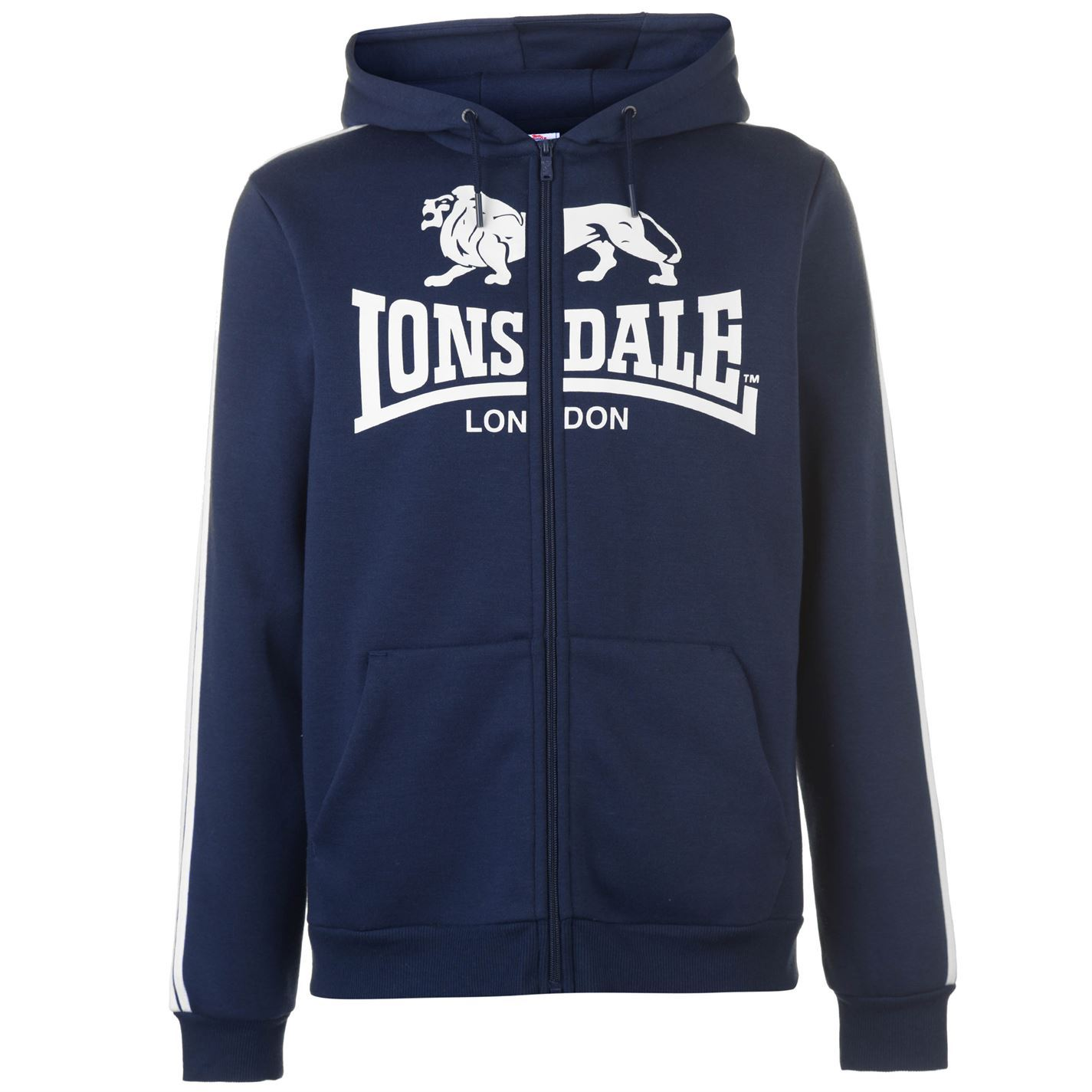 Lonsdale 2 Stripe Logo Full Zip Hoody Mens Hoodie Top Sweatshirt Sweater