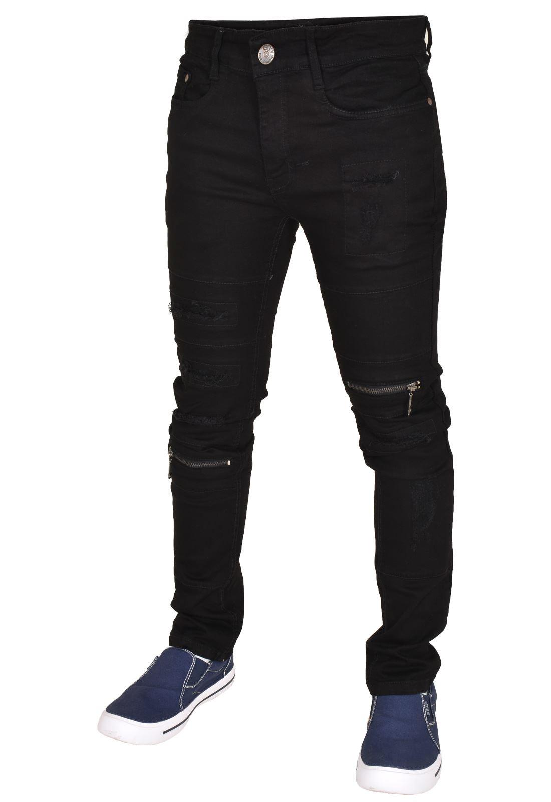 G72 Mens Ripped Straight Leg Zip Fly Skinny Fit Jeans Western Denim Zipper Pants