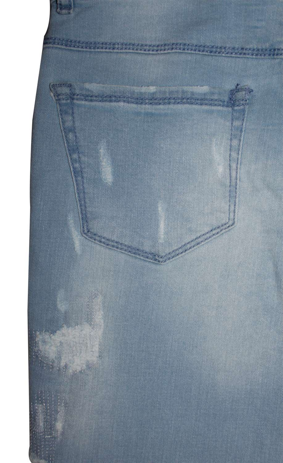 New Ladies Stretch Ripped Repair Jeans Zip Fly Womens Buttons Cotton Denim Pants
