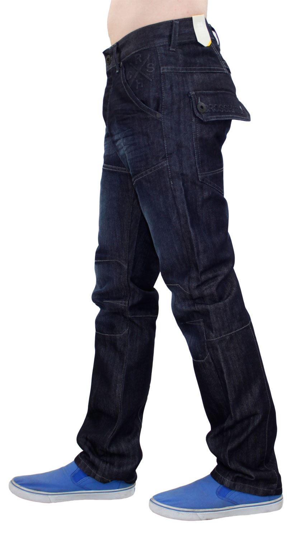 Crosshatch Mens Denim Jeans Coated Straight Leg Regular Fit Trousers Big Sizes