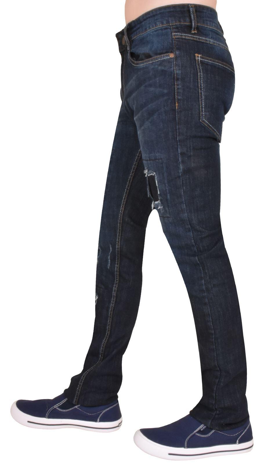New Mens Slim Fit Jeans Ripped /& Repair 5 Pocket Western Straight Leg Denim
