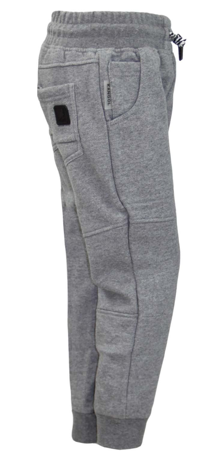 Kids Plain Basic Jogging Sports Bottoms Elasticated Cuffed Hem Brushed Trouser
