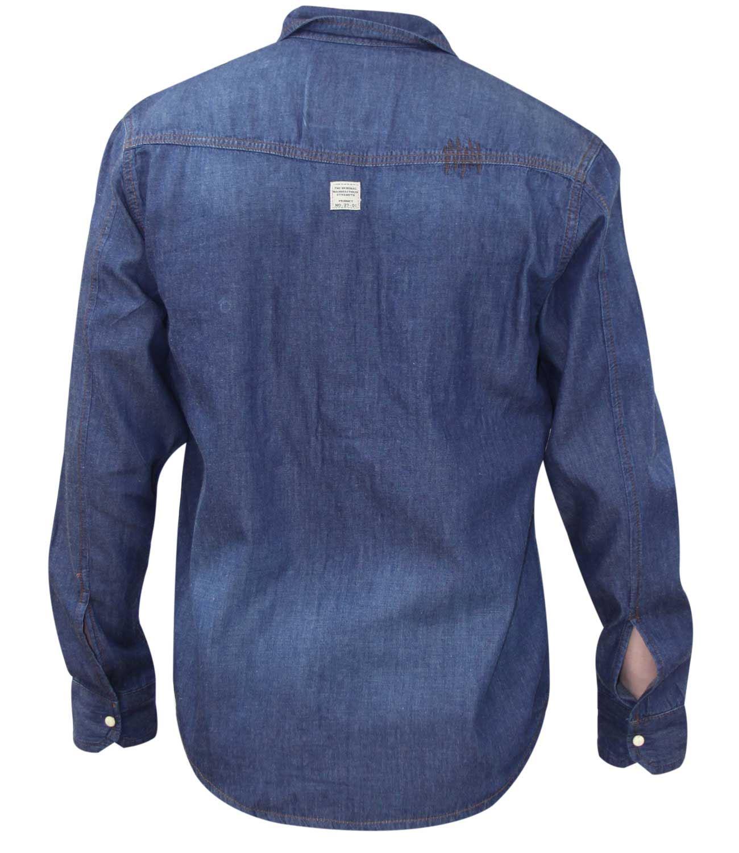 Homme à manches longues Chemise en jean Vrai Visage Double Poche Poitrine Coton Haut Décontracté