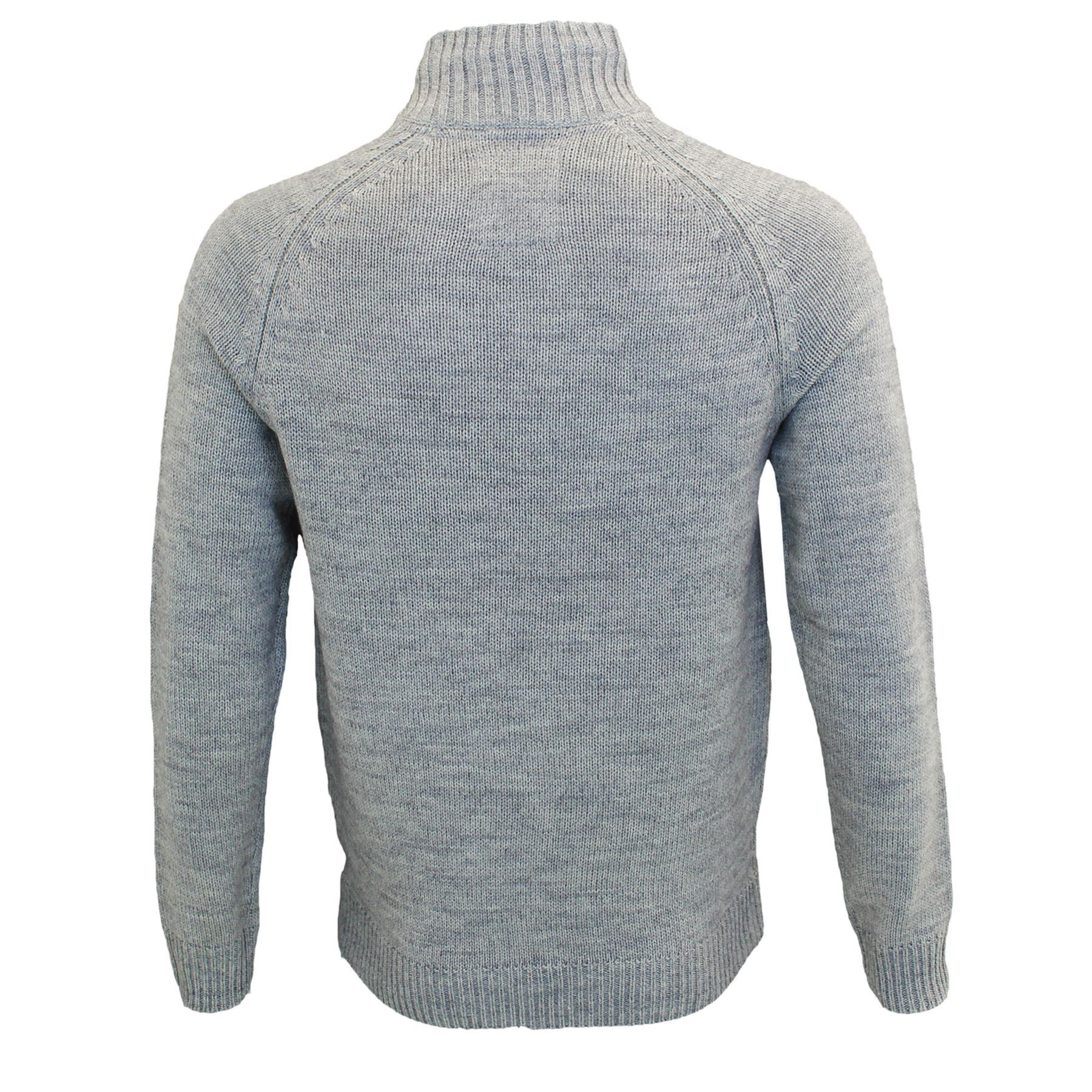 Mens Threadbare Thin Knit Zip up Borg Lined Funnel Neck Jumper Winter Sweater