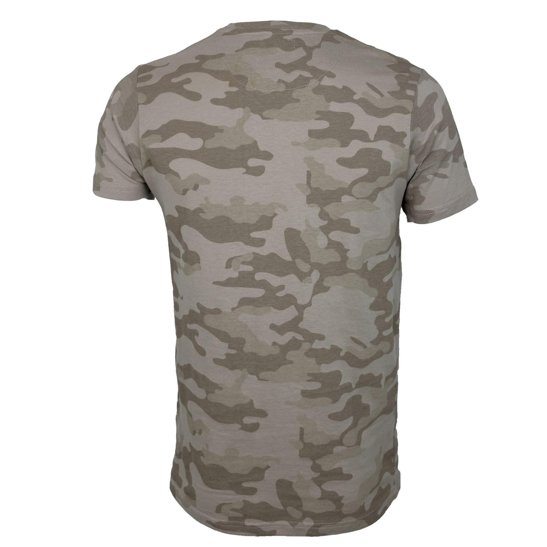 Mens Brave Soul Camo Crew Neck Zip Summer T-Shirt Lightweight Top 100/% Cotton