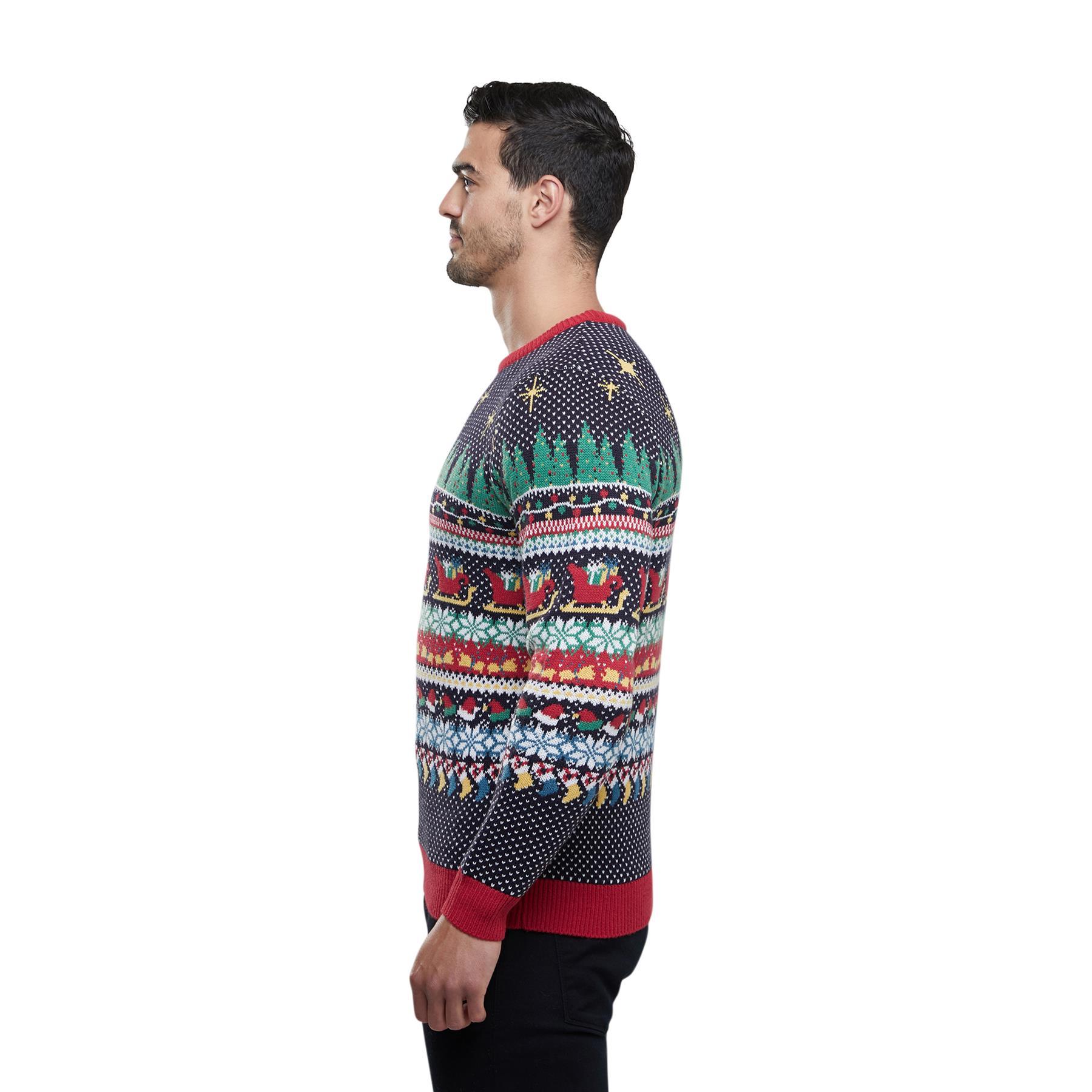 Homme arbre de Noël Renne Motif Fair Isle Novelty Christmas Jumper Sweater