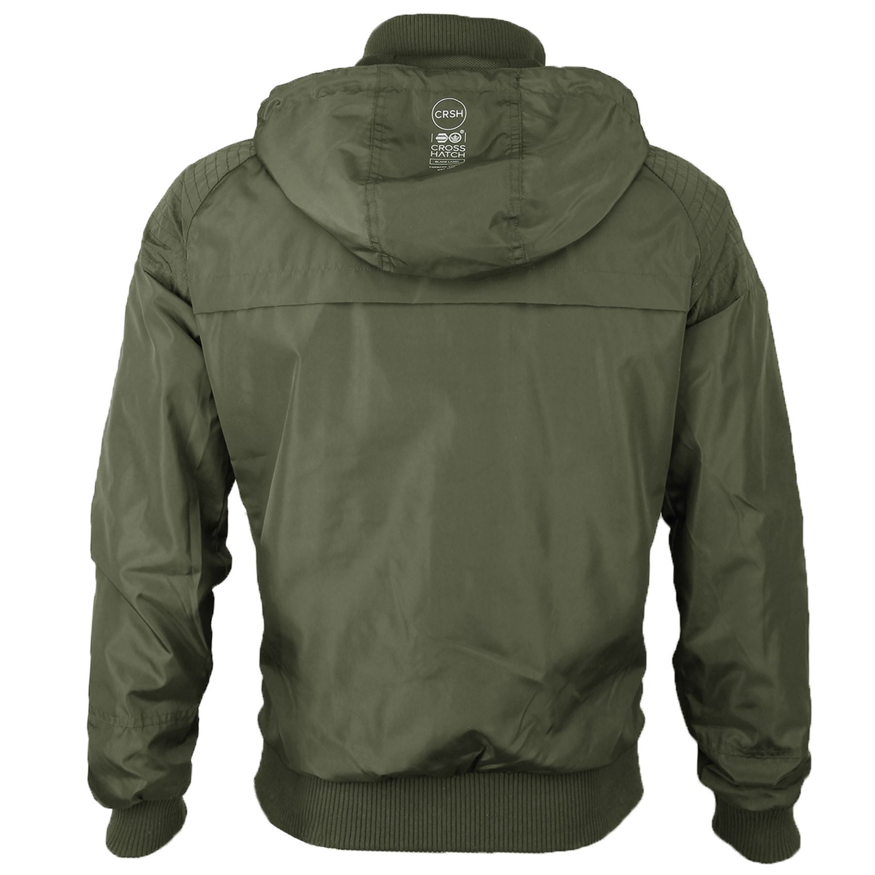 Mens Crosshatch Lightweight Contrast Showerproof Windbreaker Hooded Jacket Coat