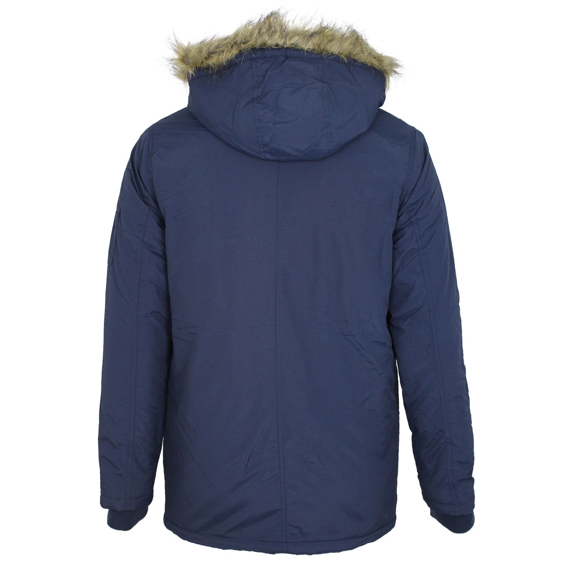 Mens Brave Soul Noel Padded Fur Lined Quilted Hood Parka Jacket Winter Coat