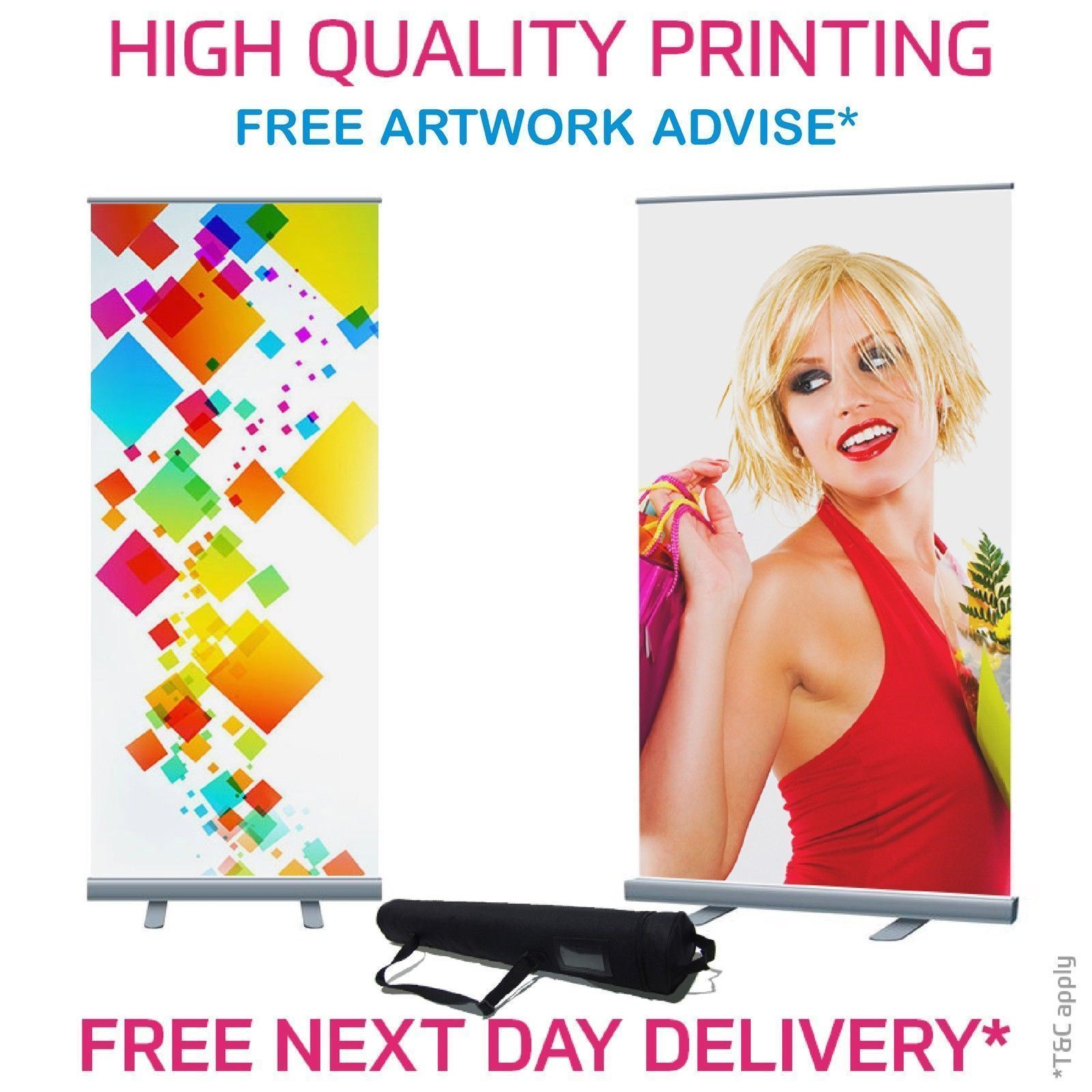 Roller Banner Pop//Roll//Pull up Exhibition Display Stand With Printed Artwork