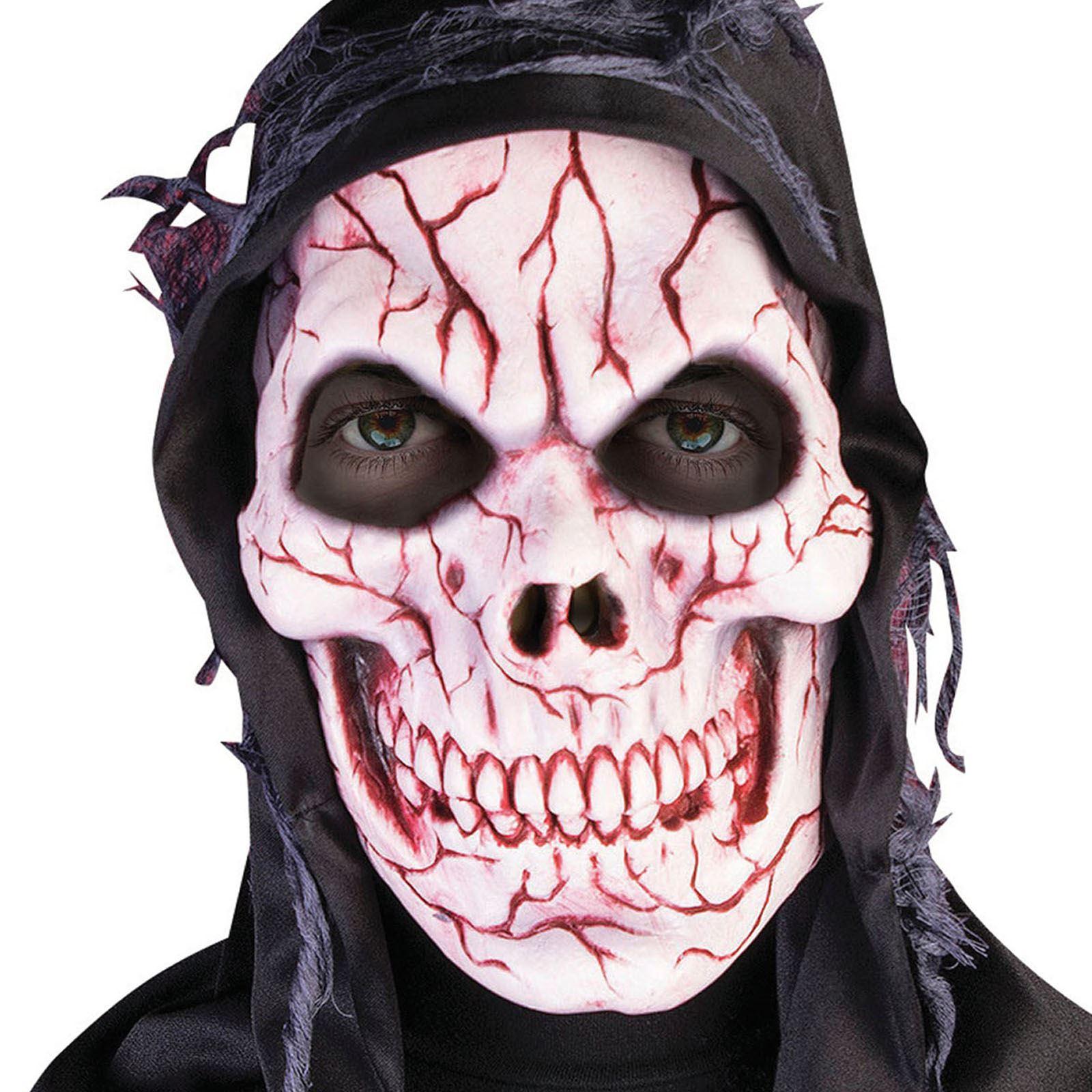 Con cappuccio teschio insanguinato Maschera Mietitore Zombie Horror Halloween DIABLO DIAVOLO Overhead UK