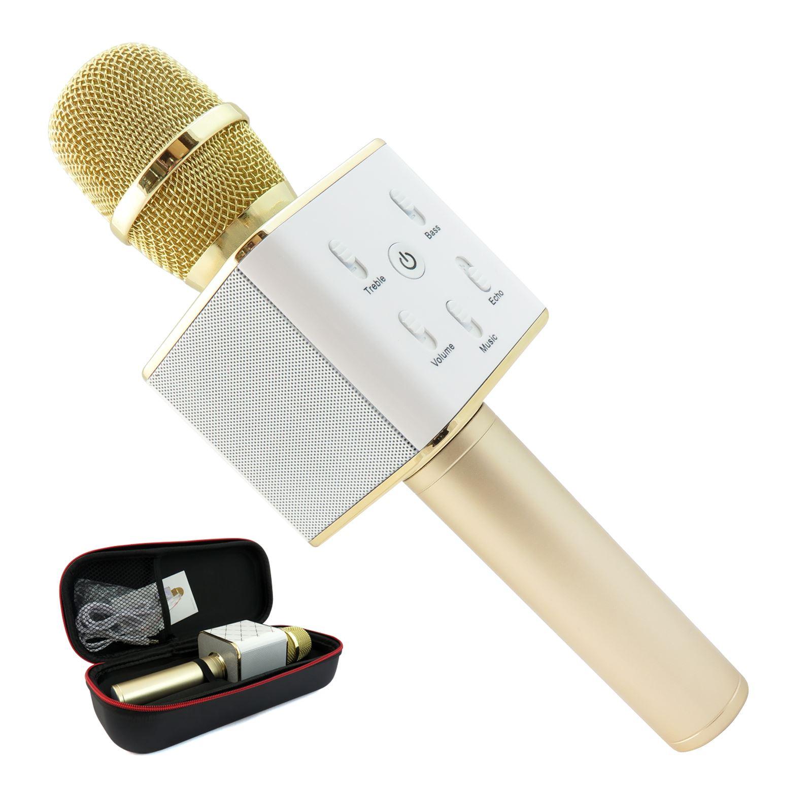 Pro 2 in 1 Bluetooth Wireless Microphone HiFi Speaker Gold Karaoke Recording Mic