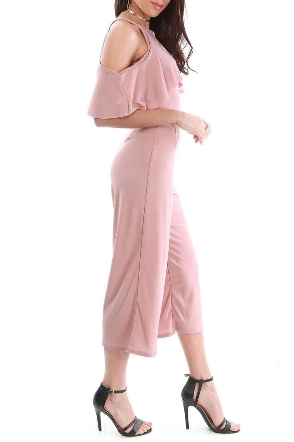 Womens All in One Culotte Stripes Strappy Cold Shoulder Frill Palazzo Jumpsuit