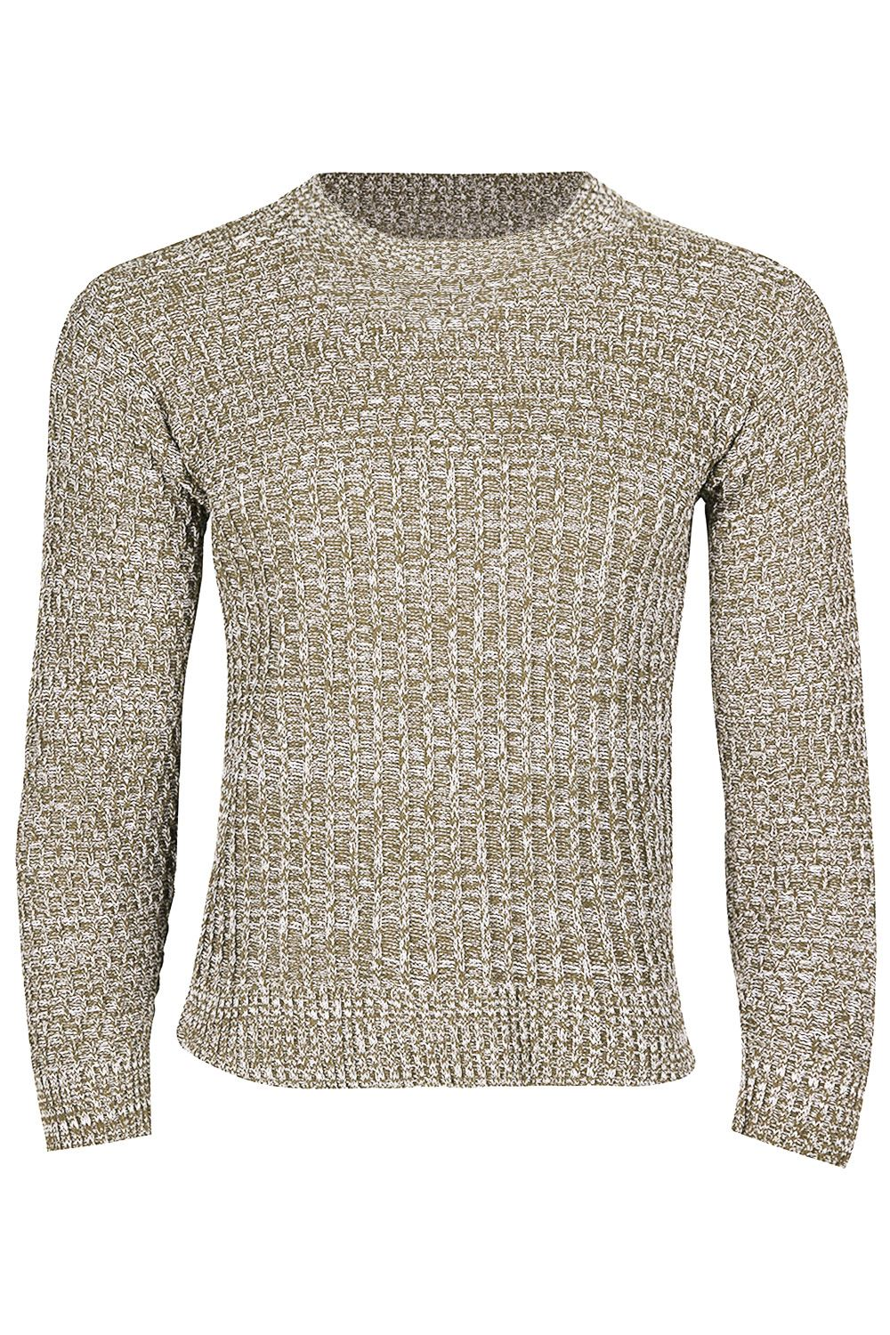 Mens Drop Cable Stitched Pattern Casual Sweater Knitted Crew Neck Jumper Top