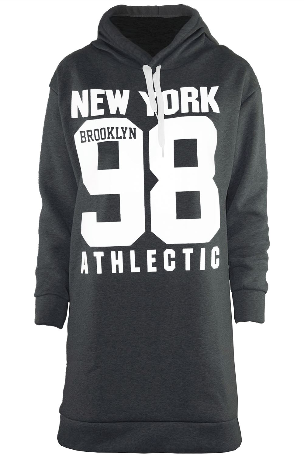 Womens Ladies New York Hooded Fleece Baggy Pullover Jumper Sweatshirt Long Dress