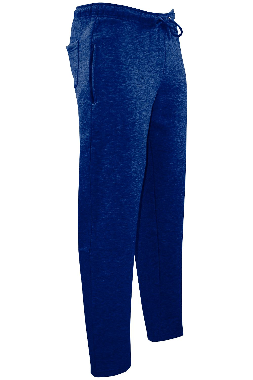 Mens Elasticated Waist Fleece Side Zip Pockets Gym Pants Joggers Track Trouser