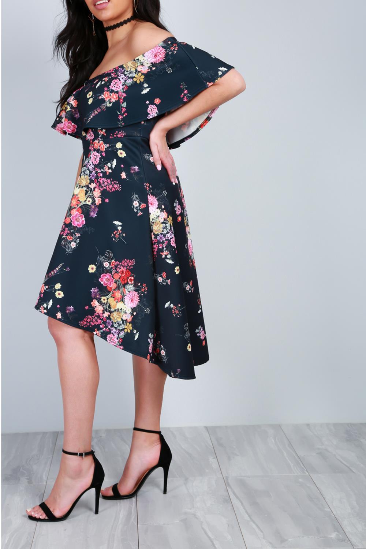 Femme Femmes Off Le Épaule Freya Floral Bardot Peplum Haute Basse Midi robe