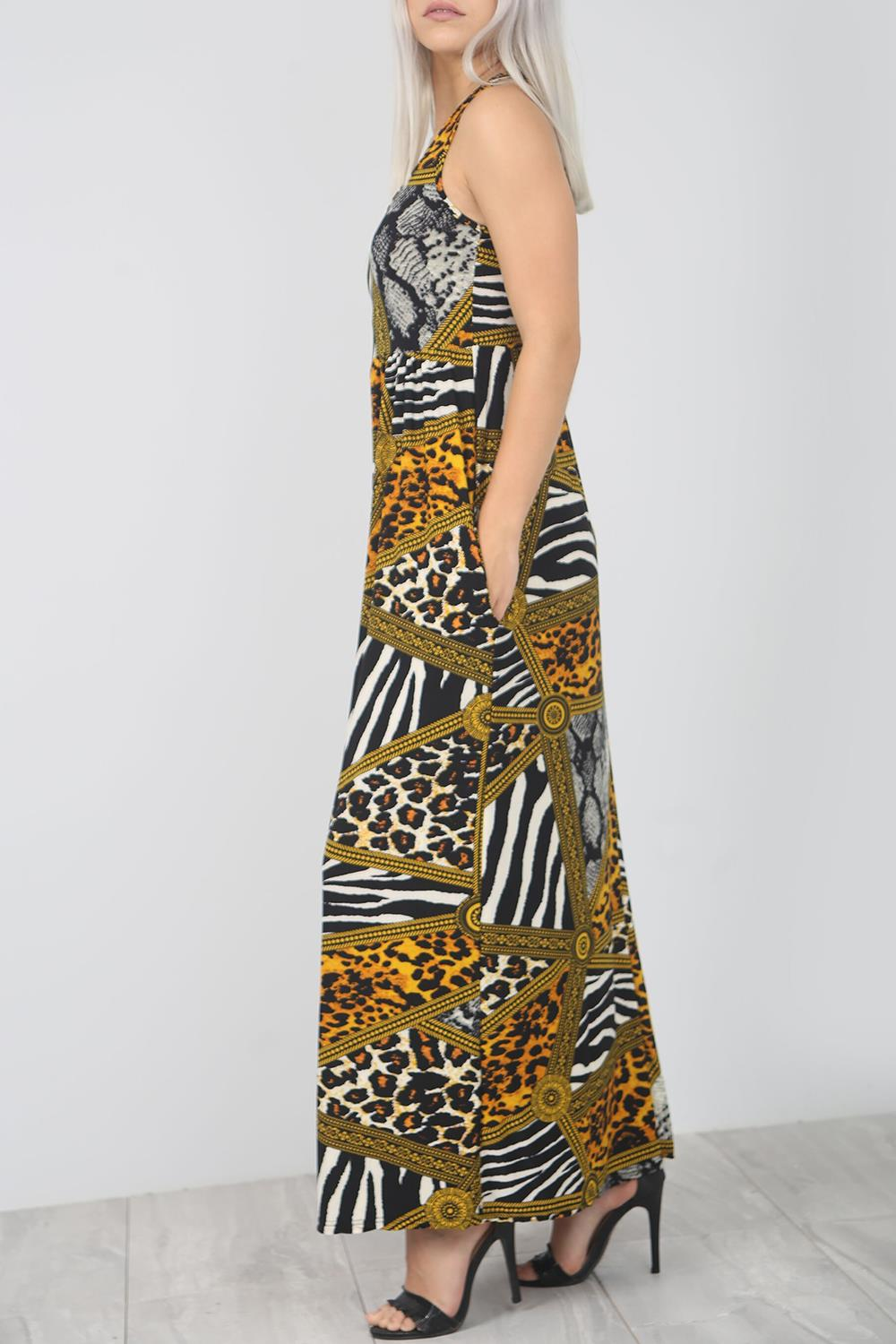 Ladies Womens Printed Muscle Racer Back Strappy Pockets Vest Maxi Skater Dress