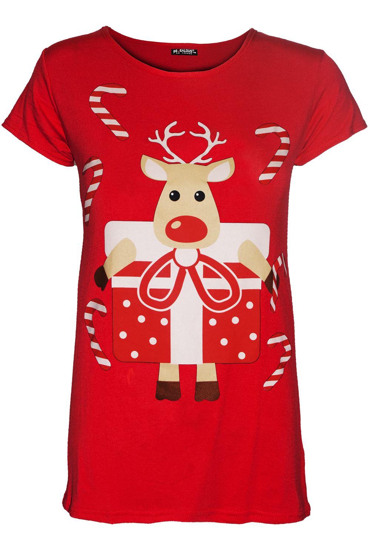 Femme Femmes Noël Noël Renne pain d/'épice Santa à mancherons T Shirt Top
