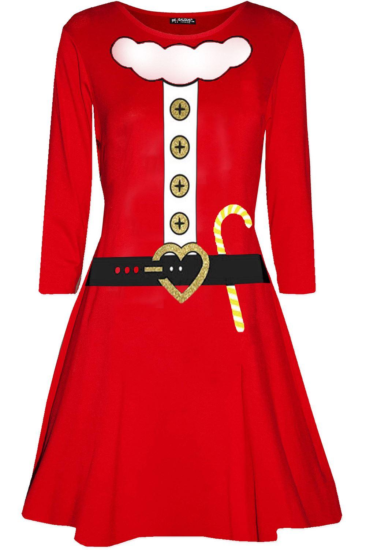 Women Ladies Christmas Santa Reindeer Gingerbread Long Sleeve Flared Swing Dress