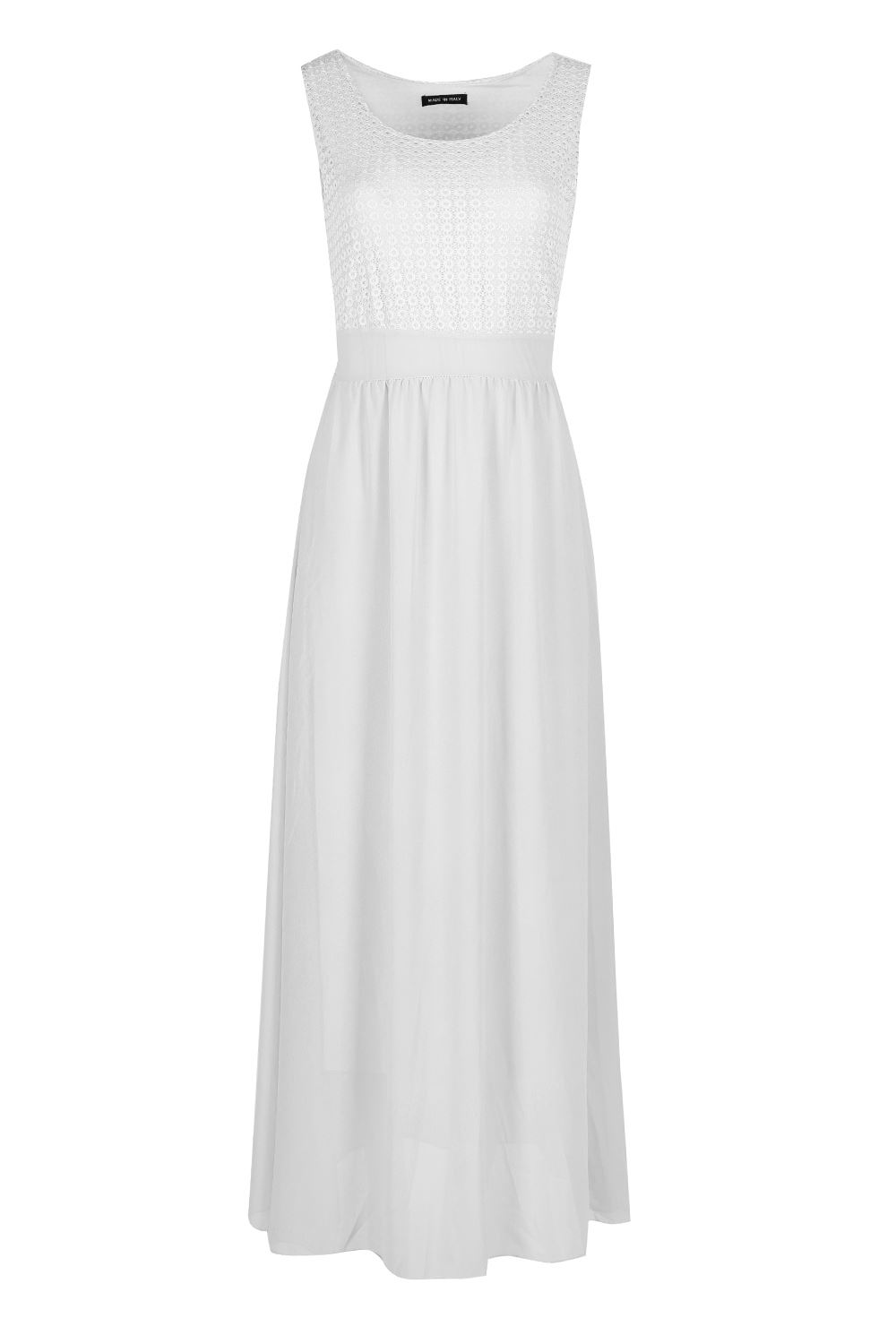 Ladies Double Layer Maxi Dress Womens Sleeveless Ring Lace Belt Tie Knot Back
