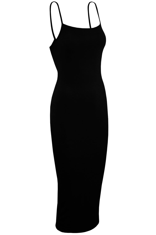 Haut Femme Sans Manches Uni Femmes Bandage mince à Bretelles Extensible Moulante Midi Robe