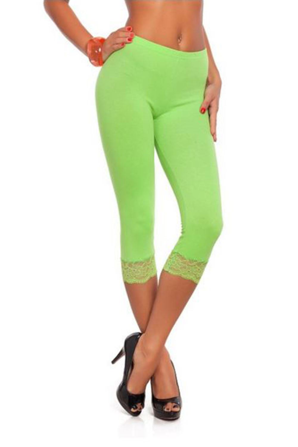 Womens 3//4 Length Lace Trim Cropped Ladies Fitted Jog Trousers Jeggings Leggings
