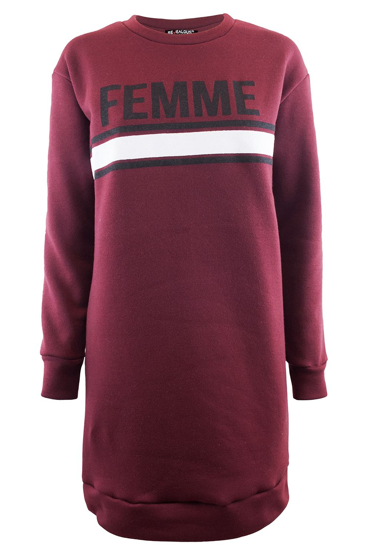 Womens Ladies Femme Printed Oversize Sweatshirt Loose Fit Long Fleece Mini Dress