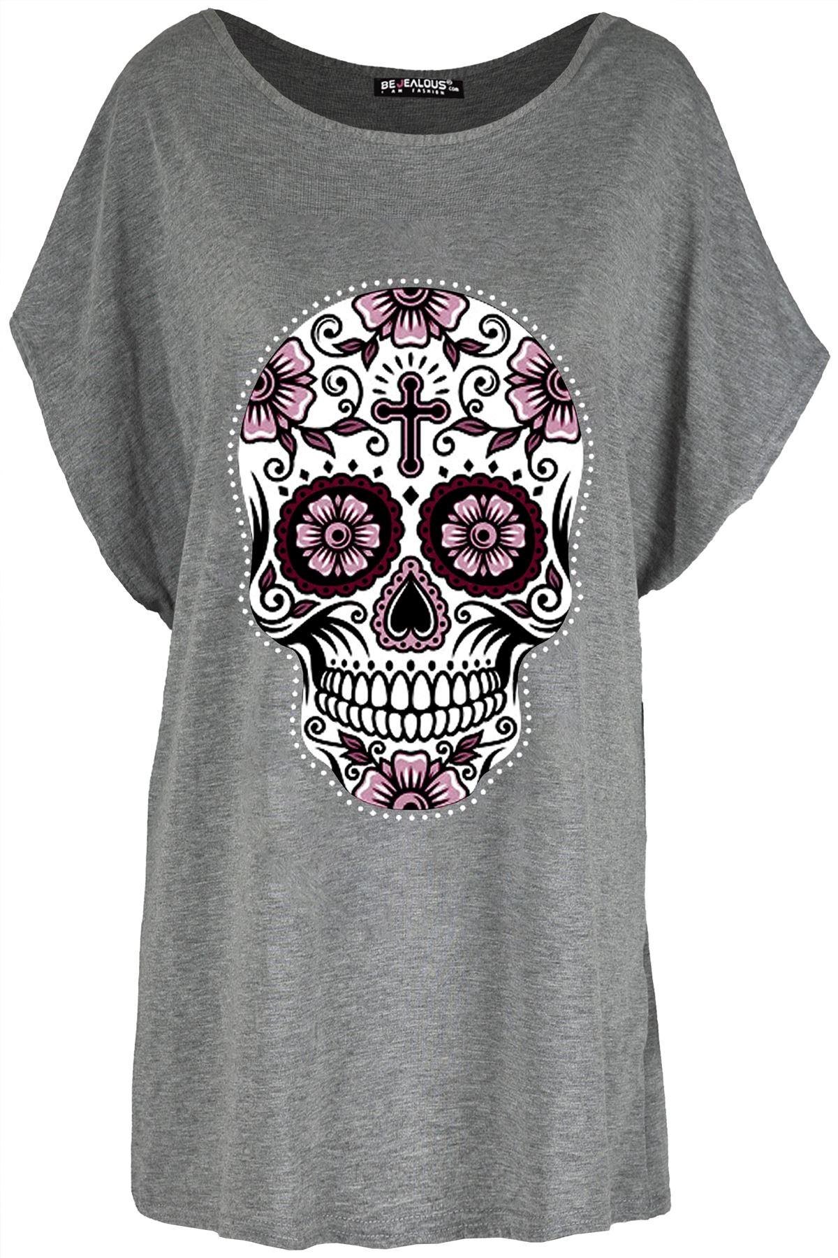 Ladies Halloween Batwing Baggy Lagenlook Floral Skull Off Shoulder T Shirt Top