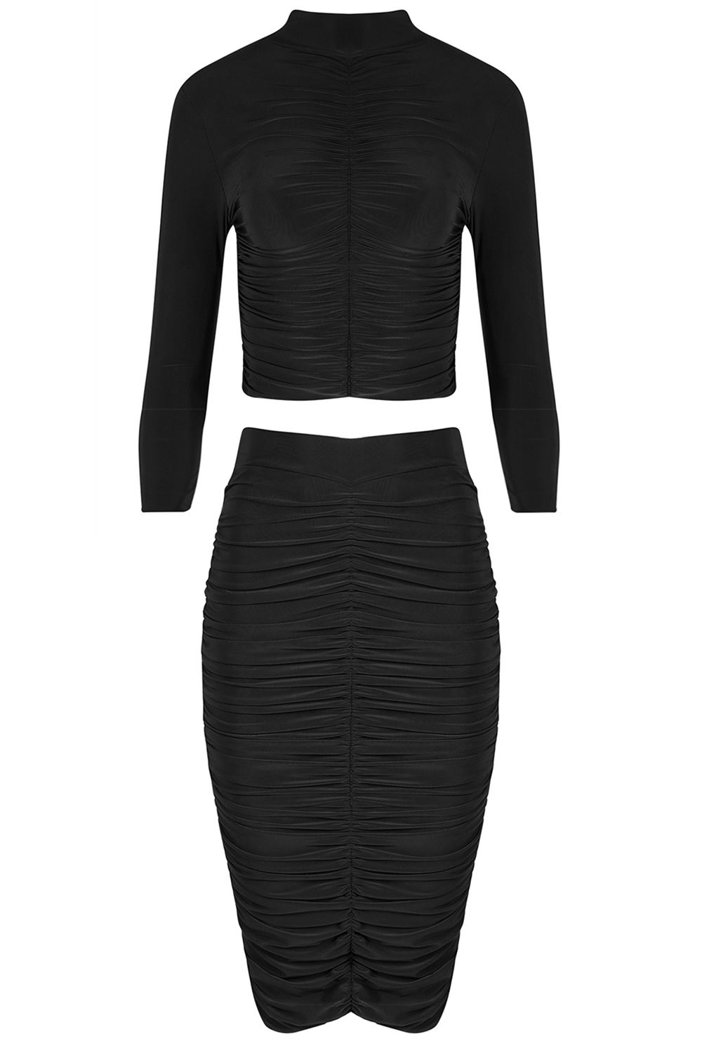 Womens Slinky Polo Neck Crop Top Ladies Two Piece Co Ordinate Set /& Ruched Skirt