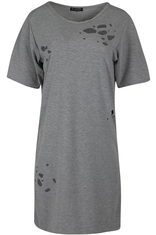 Womens Ladies Destroyed Distressed Lazer Cut Ripped T-Shirt Oversized Mini Dress