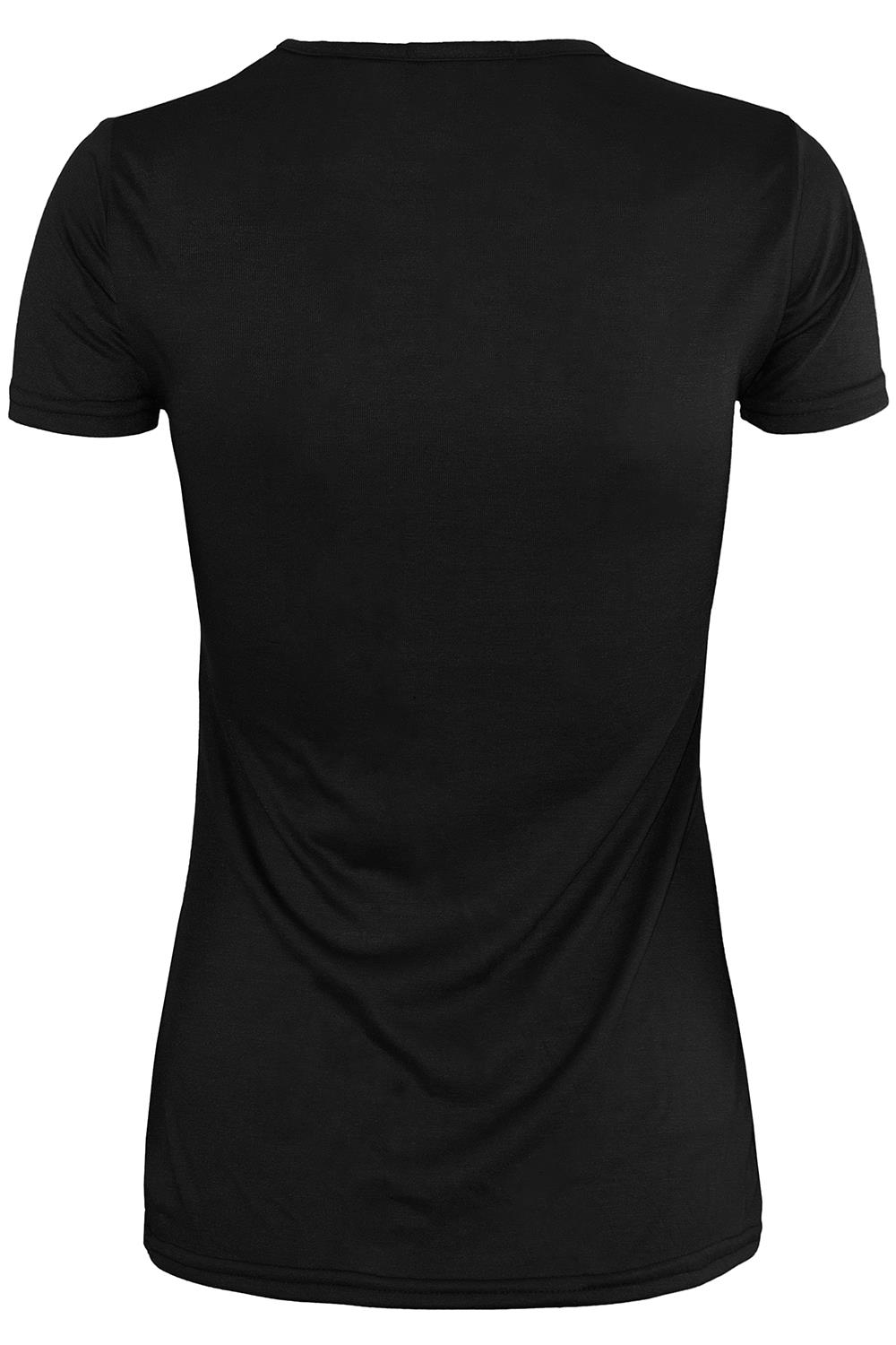 Womens Ladies Plain V Neck Casual Basic Oversize Sporty Stretchy T-Shirt Tee Top