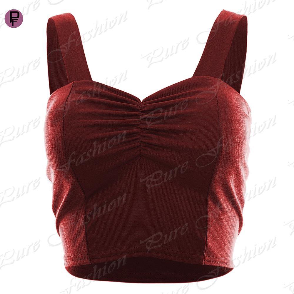 Womens Ladies Padded Summer Stretch Strappy Cropped Vest Bra Boobtube Bralet Top
