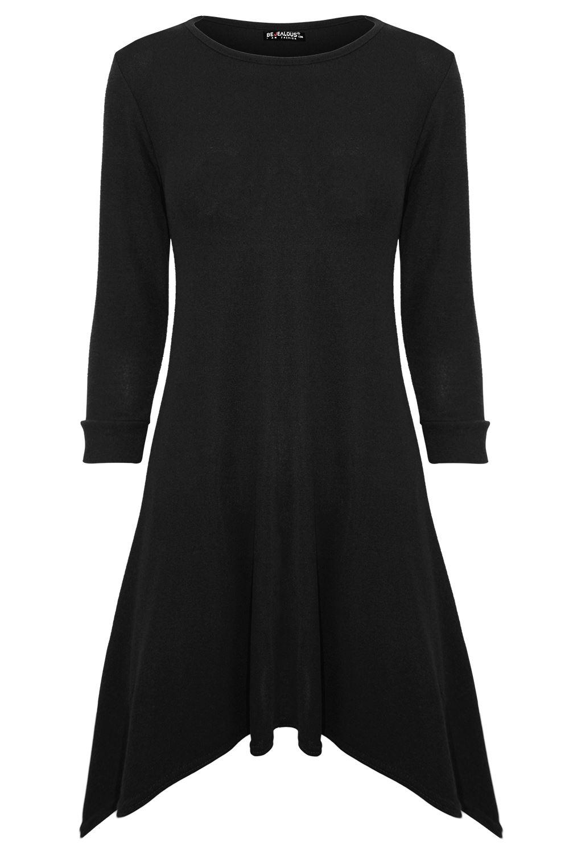 Womens Ladies Turn Up Long Sleeve Knitted Hanky Hem Fine Flared Swing Mini Dress
