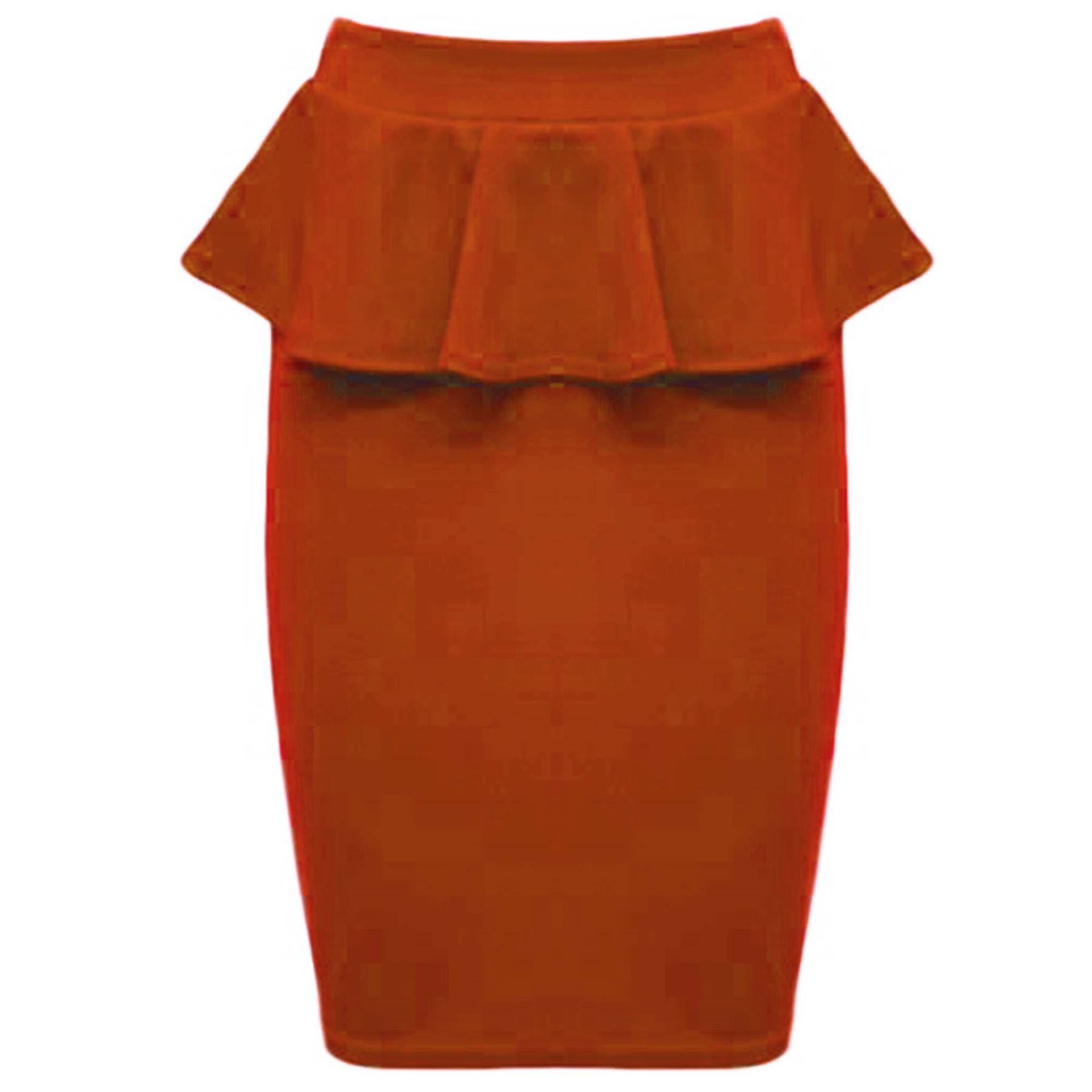 New Womens Ladies Fit Ponte Soft Bodycon Frill Peplum Pencil Stretch Midi Skirt