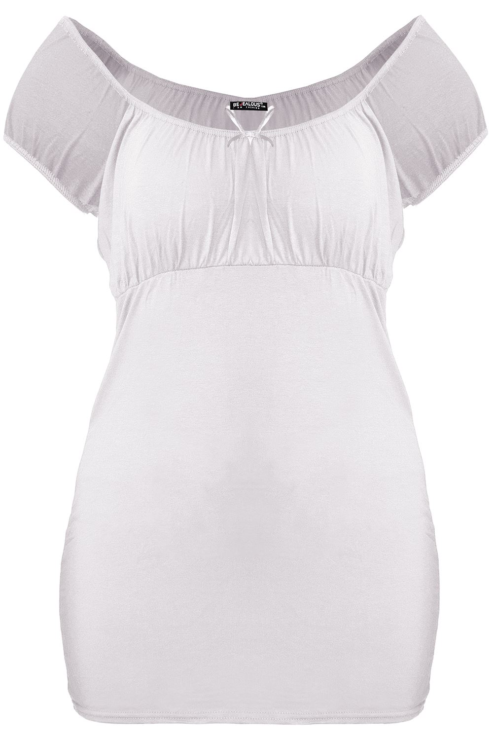 Plus Size Ladies Womens Gypsy Off Shoulder Boho Ruched Bow Tie Knot T-Shirt Top