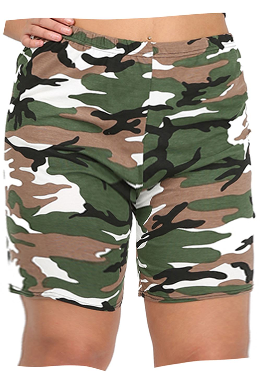 Plus Size Womens Ladies Summer Printed Gym Bike Cycling Tights Hot Pants Shorts