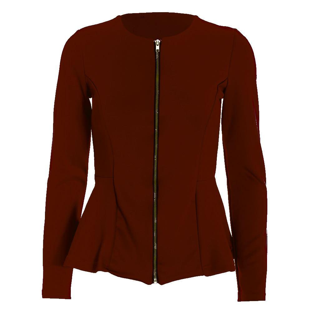 Womens Ladies Long Sleeves Tailored Zip Up Peplum Ruffle Frill Jacket Blazer Top
