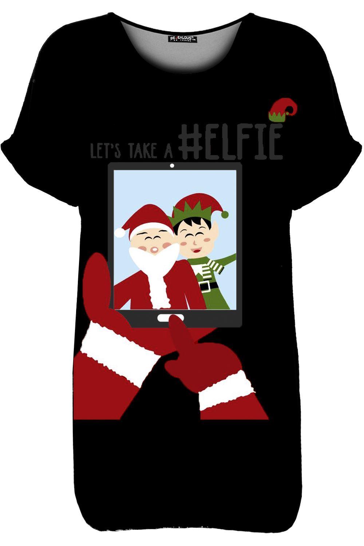 Womens Ladies Turn Up Sleeve Xmas Christmas Pug Oversized Baggy T Shirt Tee Top