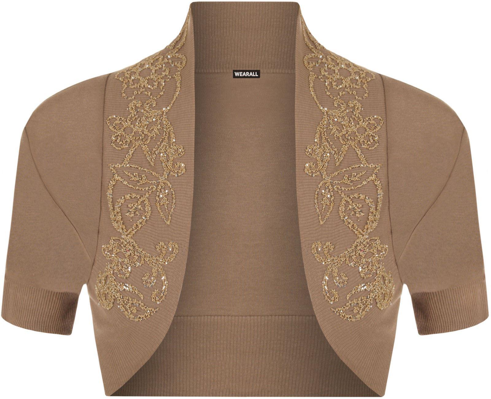 Womens Cap Sleeves Stretchy Bolero Cropped Ladies Open Beaded Sequin Shrug Top