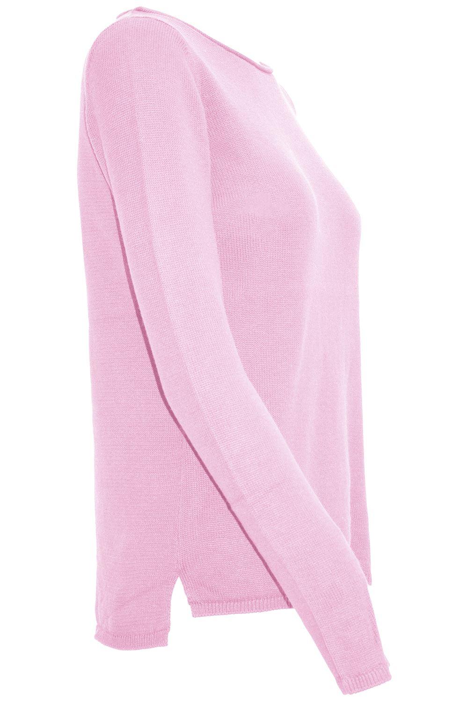 Femme Femmes Contrast Panel Sweater Pull Side Split High Low Chaud Haut