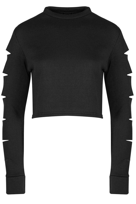 Ladies Womens Sporty Stripe Knitted Baggy Raw Edge Fleece Sweatshirt Crop Top
