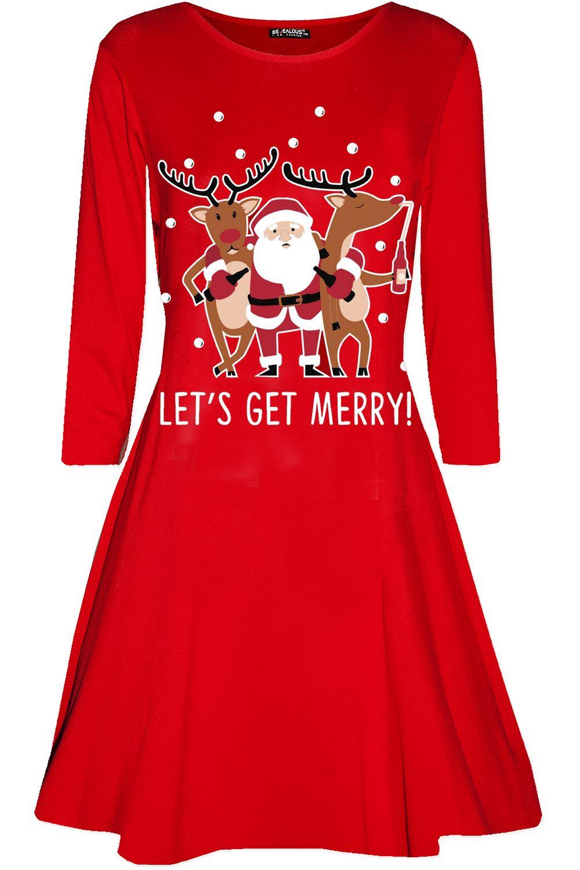 Womens Ladies Christmas Rudolph Snow Falling Long Sleeve Flared Mini Swing Dress