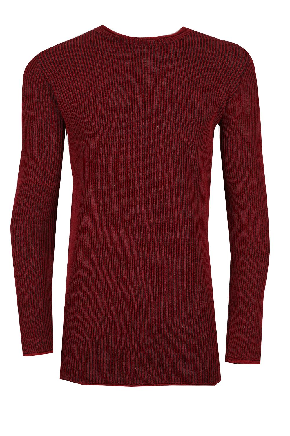 Mens Long Sleeve Crew Neck Sweater Knitted Block Side Stripe Pullover Jumper Top