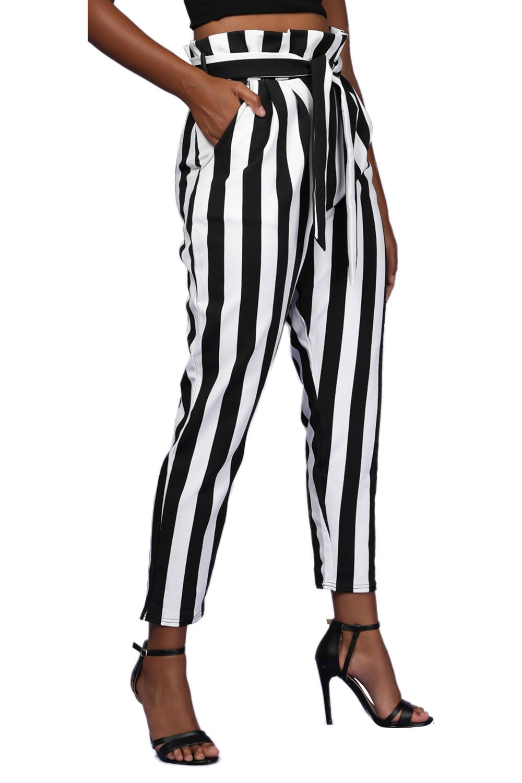 NUOVA linea donna Elasticizzato Monocromatico Righe Cravatta Con Cintura Donna Casual Pants Pantaloni