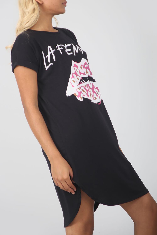 Ladies Womens La Femme Lips Oversize Longline Curved Hem Tunic Tee T-Shirt Dress