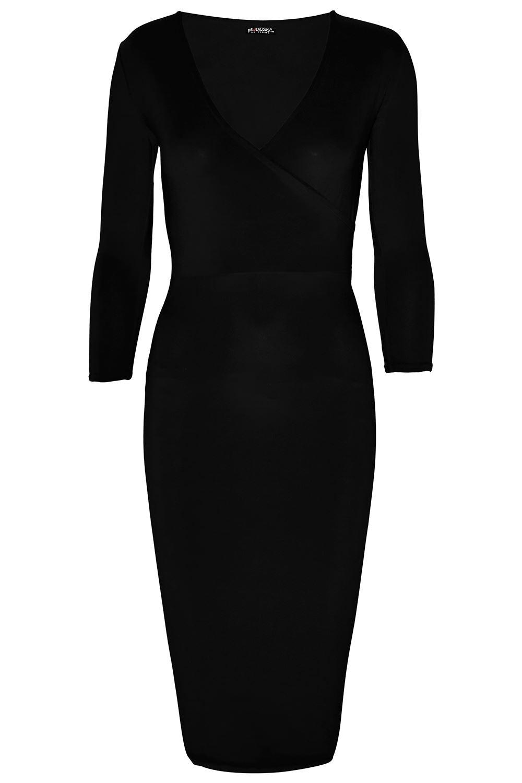 Womens V Neck Wrap Cross Over 3//4 Sleeve Stretchy Bodycon Ladies Midi Dresses