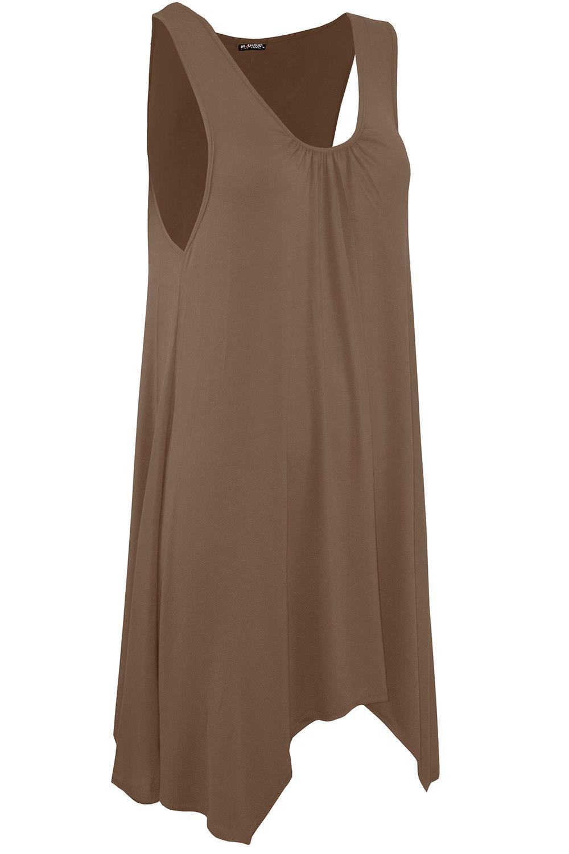 Womens Ladies Stretchy Swing Ruched Sleeveless Flared Mini Hanky Hem Dress Top