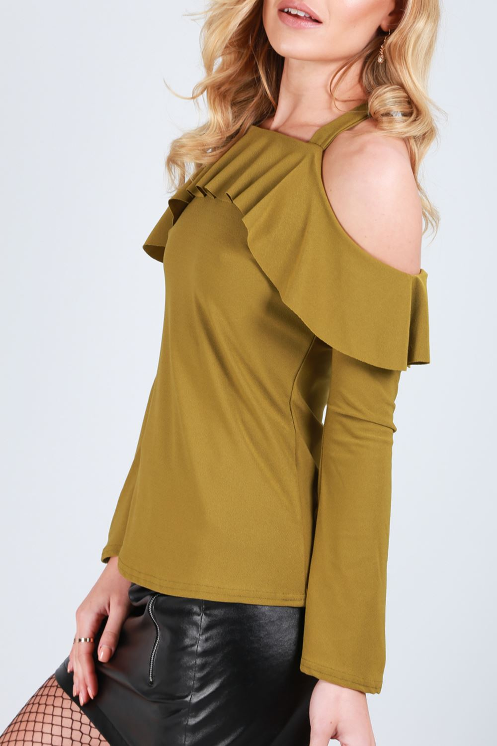 Womens Ladies Strappy Wide Bell Long Sleeve Off Cold Shoulder Peplum Frill Top