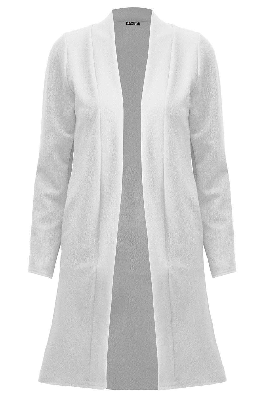 Womens Collar Longline Blazer Ladies Open Front Duster Long Sleeve Cardigan Top