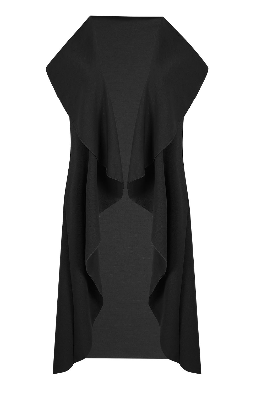 Womens Ladies Open Front Waterfall Top Sleeve Cape Coat Blazer Cardigan UK 8-14